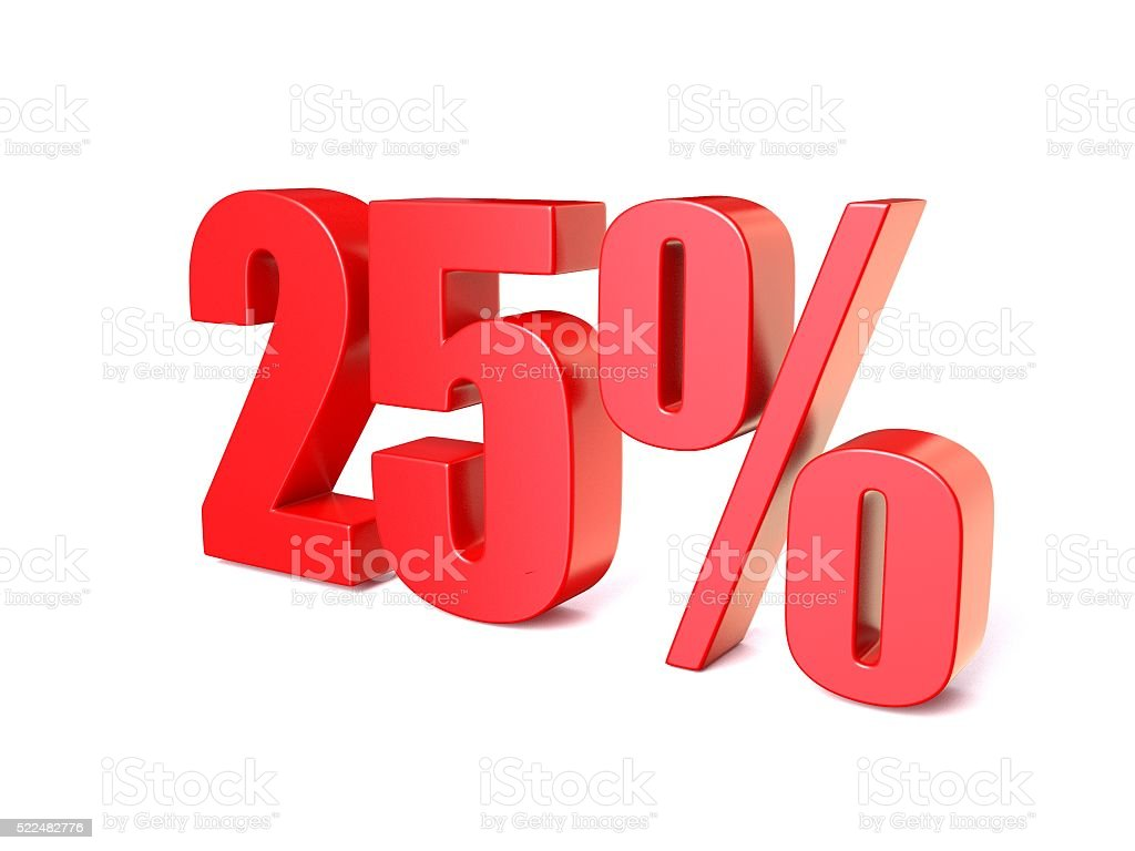 Red percentage sign 25. 3D stock photo