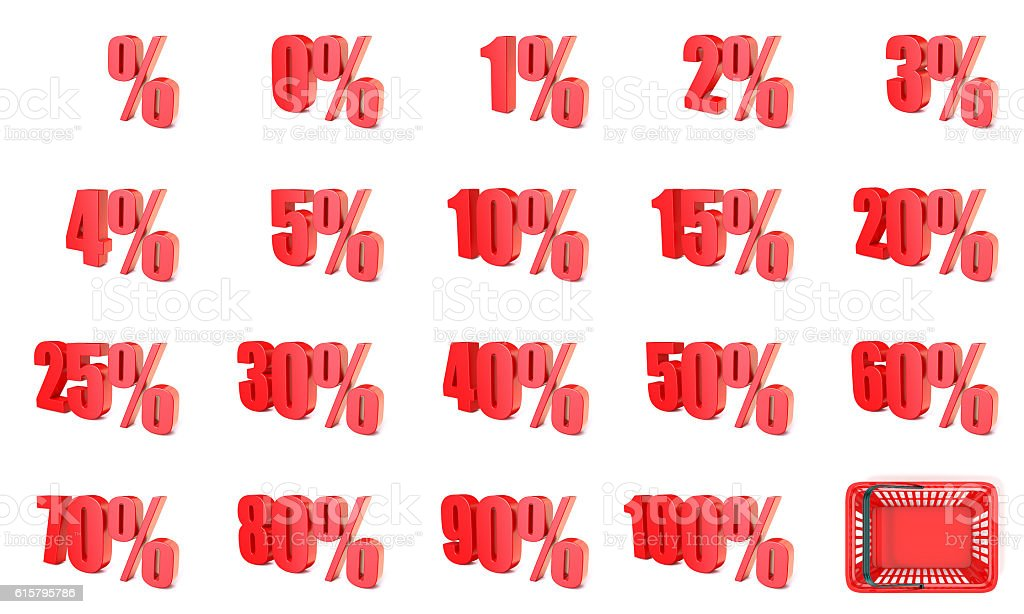 Red percentage sign collection. 3D stock photo