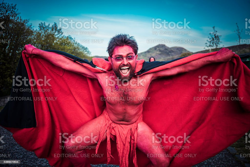 Red Performers at the Beltane Fire Festival, Edinburgh stock photo