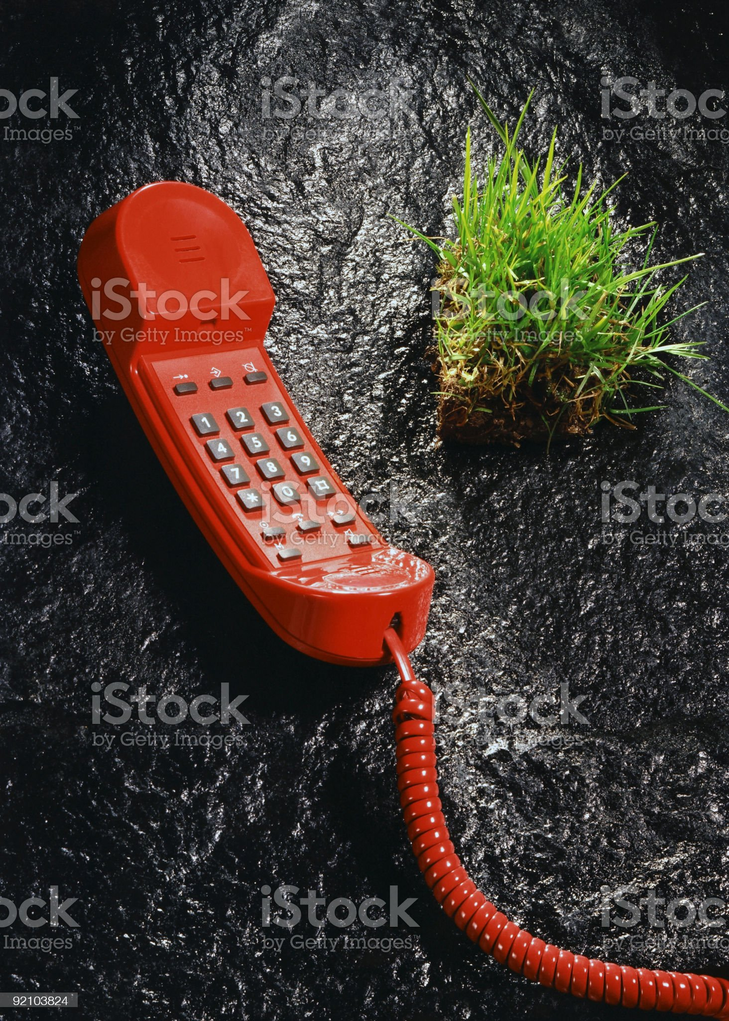 red phone and grass sode royalty-free stock photo