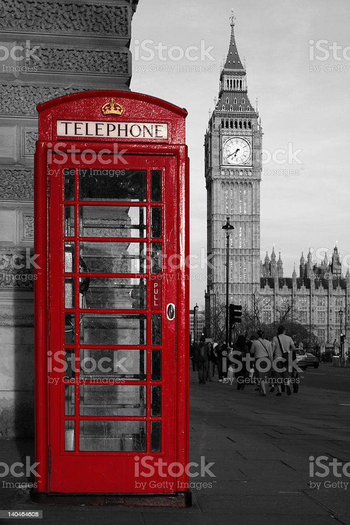 Red phone booth and Big Ben stock photo