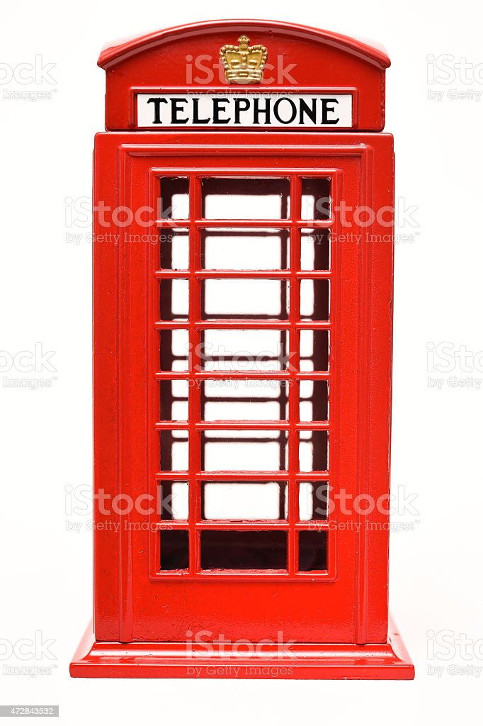 Red phone booth isolated on white background stock photo