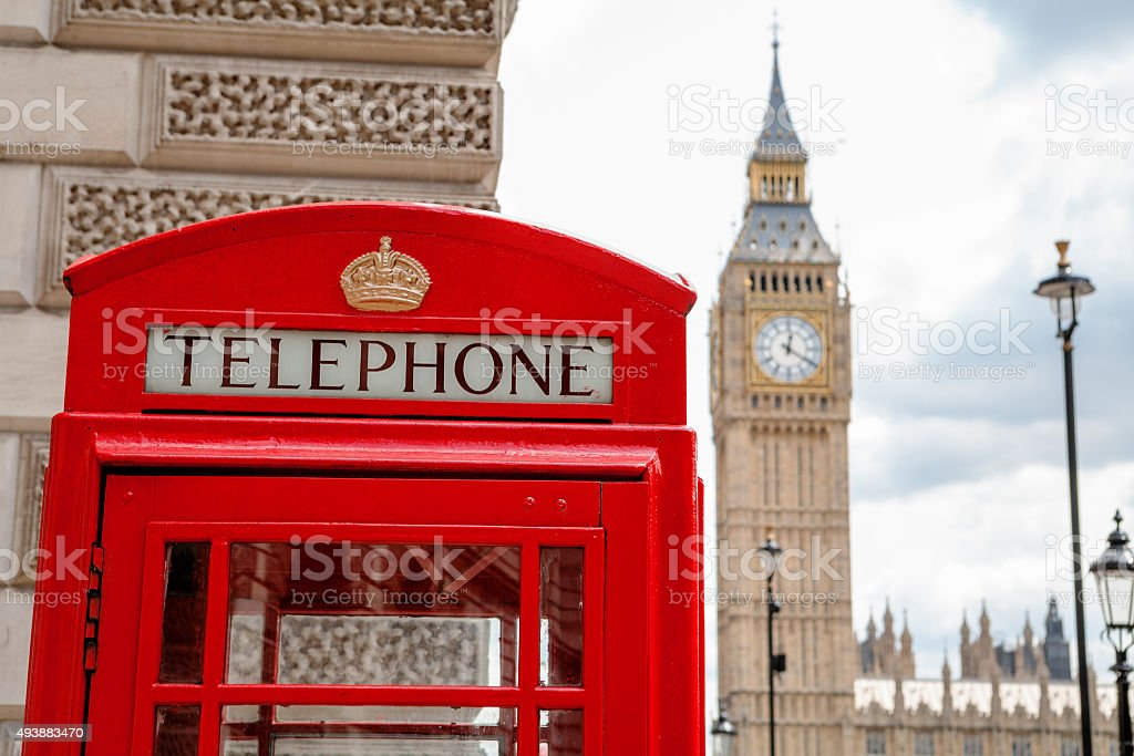 Red phone booth. London, UK stock photo