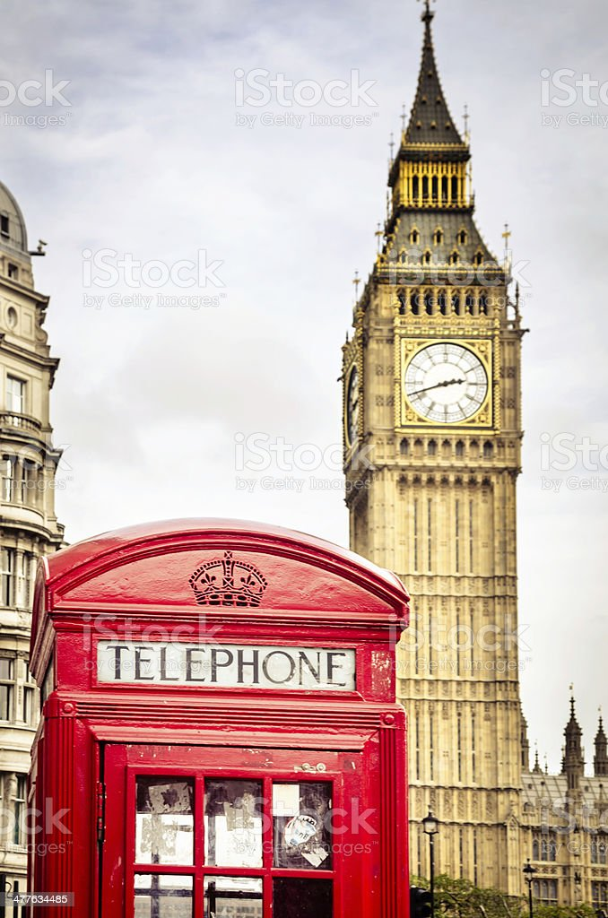 Red Phone Booth Near The Big Ben stock photo