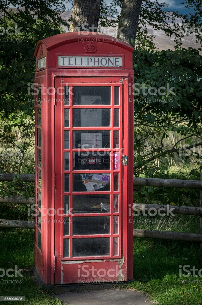 red phone booth stock photo
