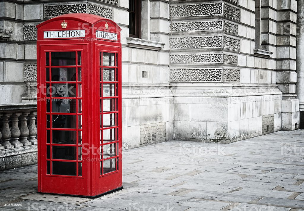 Red phone box in London, stock photo