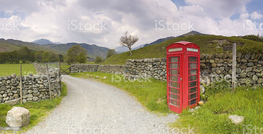Red phone box, Lake District, UK stock photo
