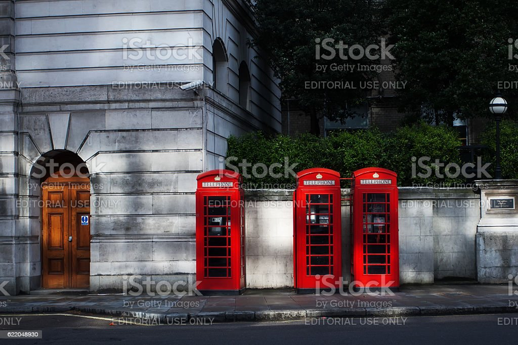 Red phone boxes in London stock photo