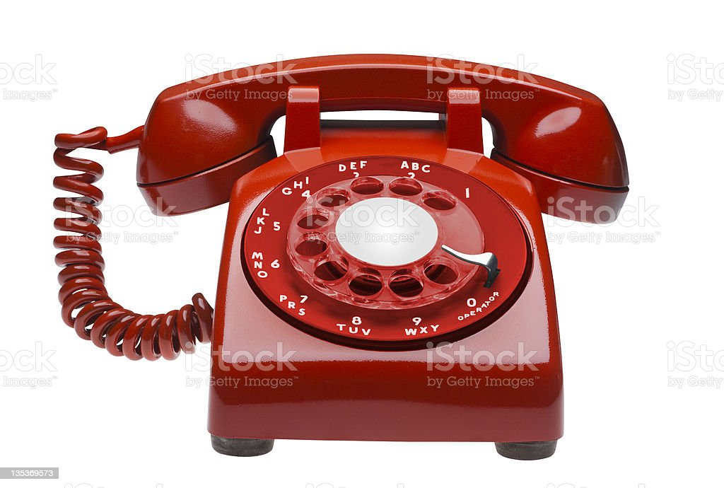 Red phone, isolated stock photo