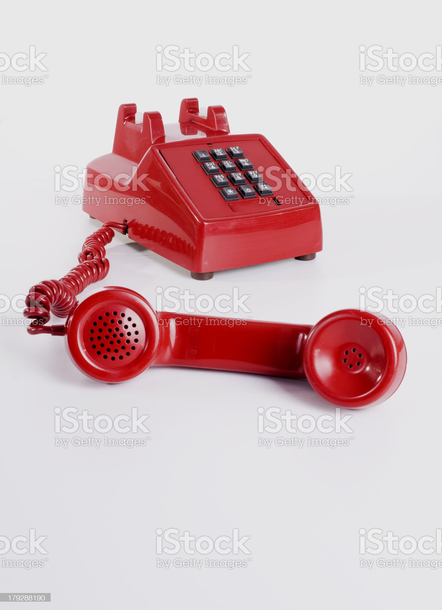 Red Phone on Grey royalty-free stock photo
