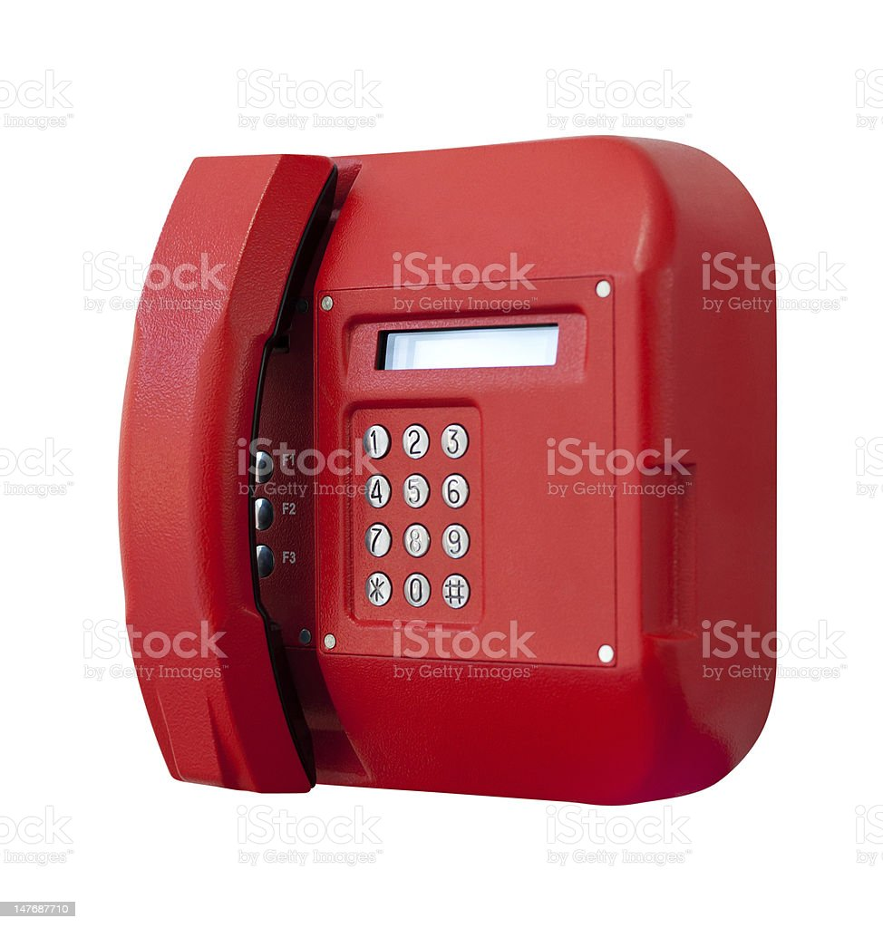 Red phone on white background. royalty-free stock photo