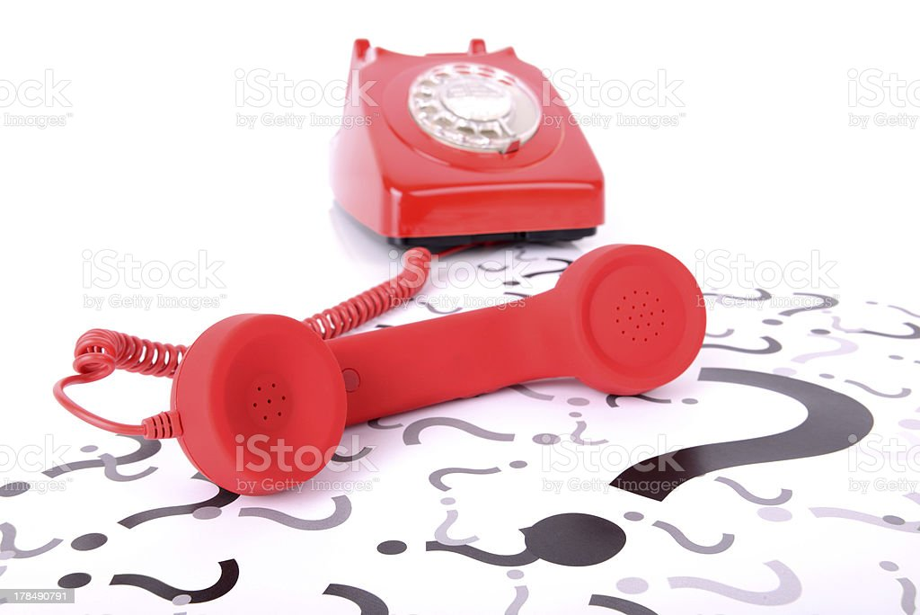 red phone question stock photo