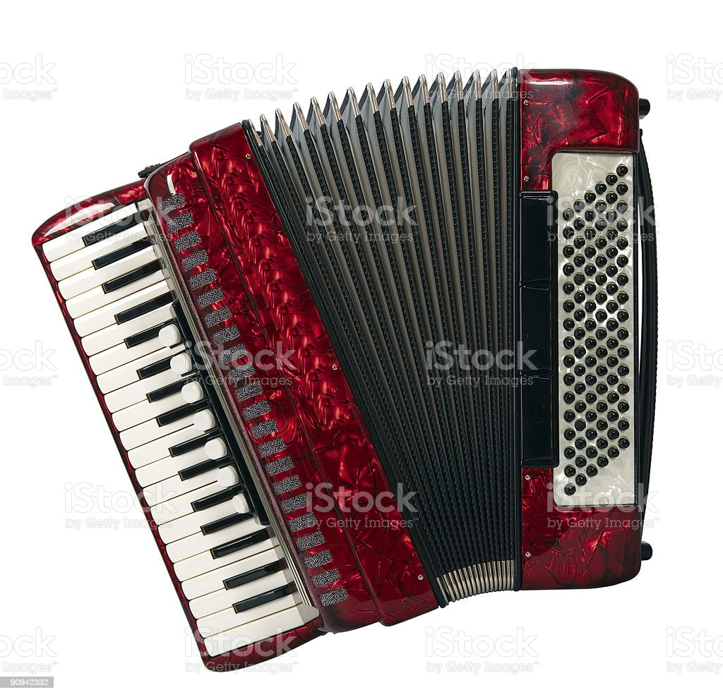 A red piano accordion seen from above stock photo