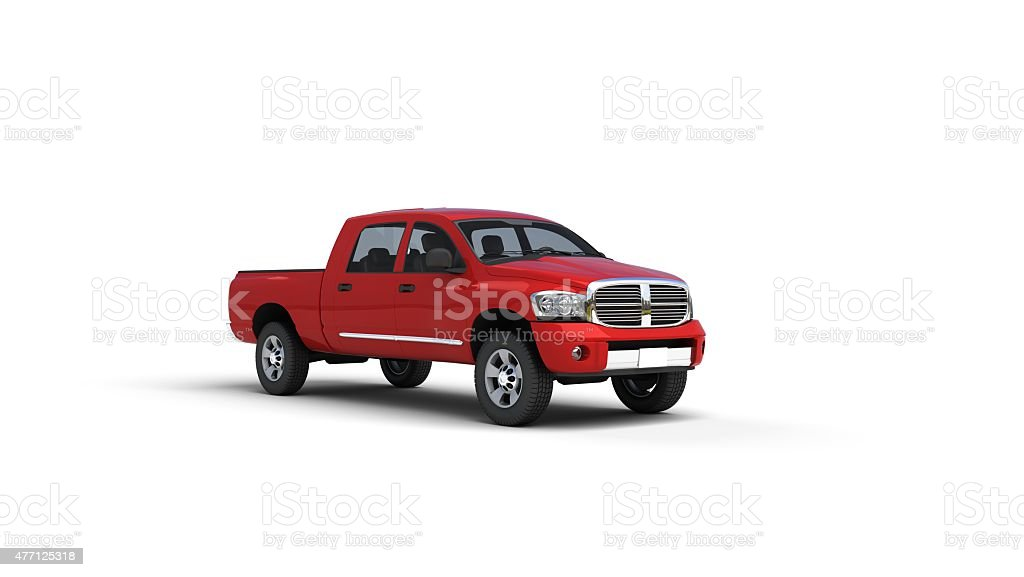 red pick up truck stock photo