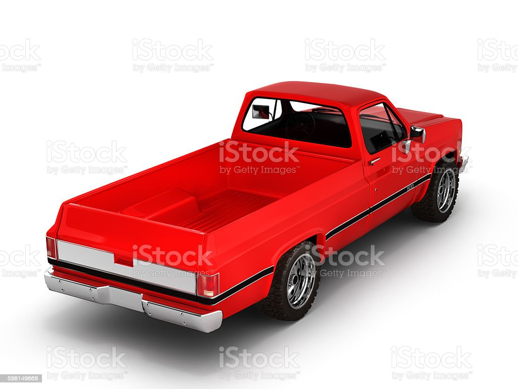 Red pickup truck isolated on white 3d stock photo