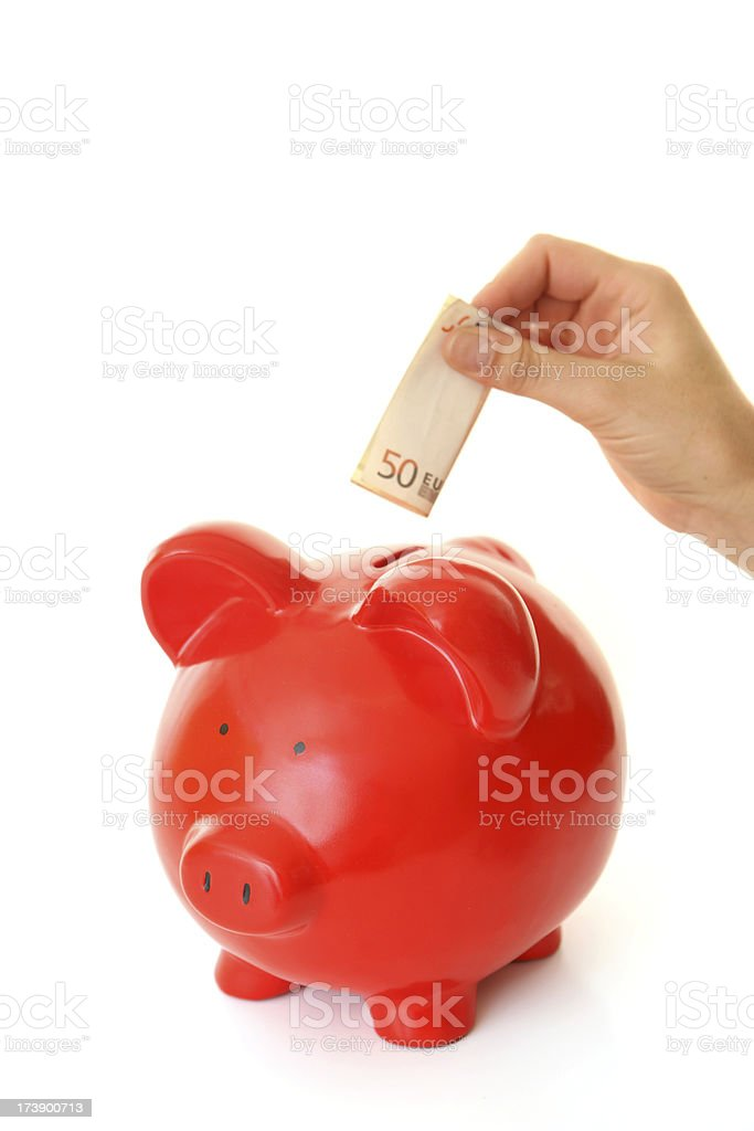 Red piggy bank royalty-free stock photo