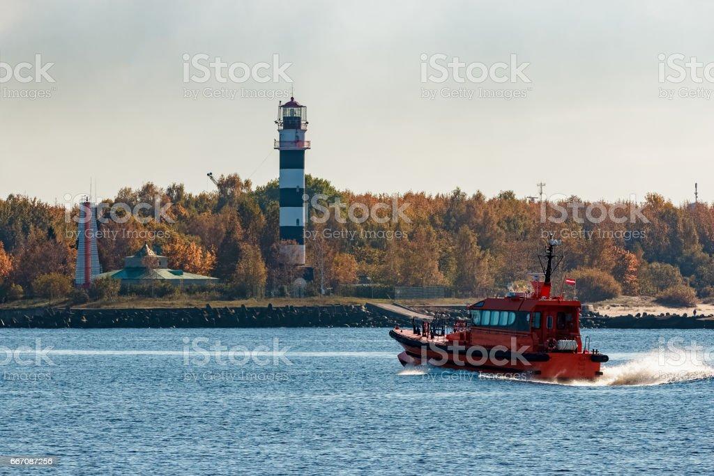 Red pilot ship stock photo