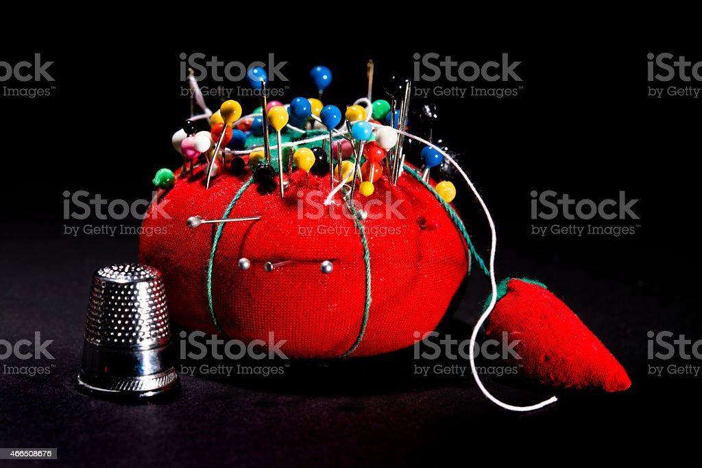 Red Pin Cushion stock photo