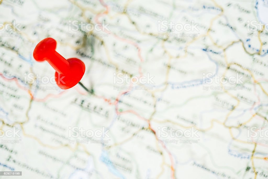 Red pin on map stock photo