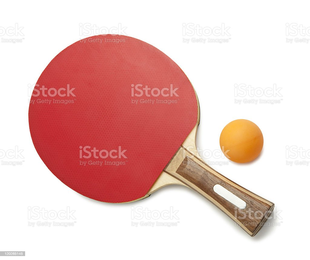 Red ping pong paddle and ball isolated on white stock photo