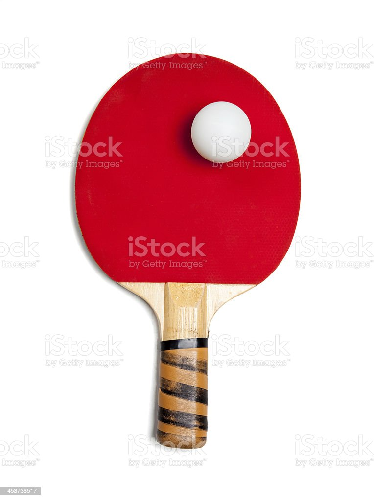red ping pong paddle with ball on white royalty-free stock photo