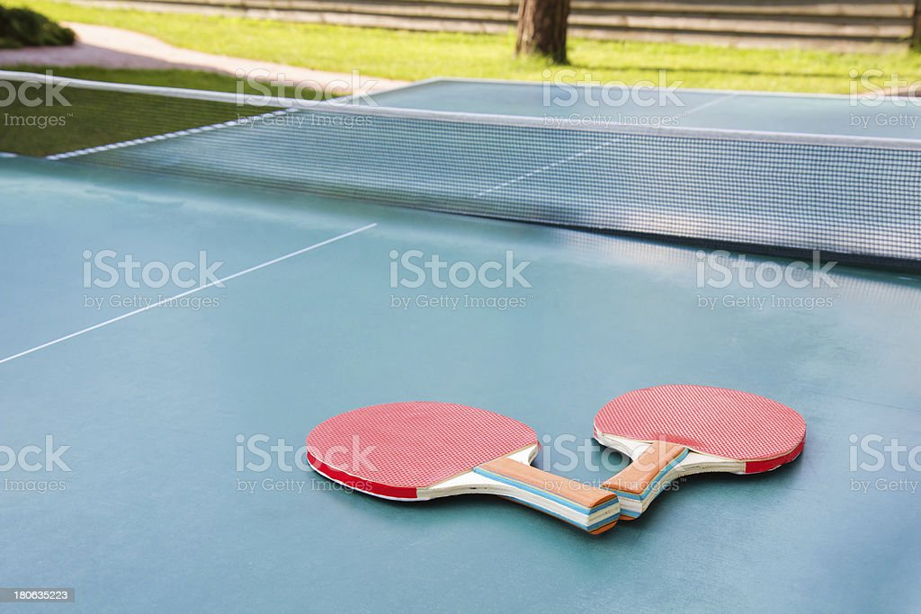 Red ping pong rackets royalty-free stock photo