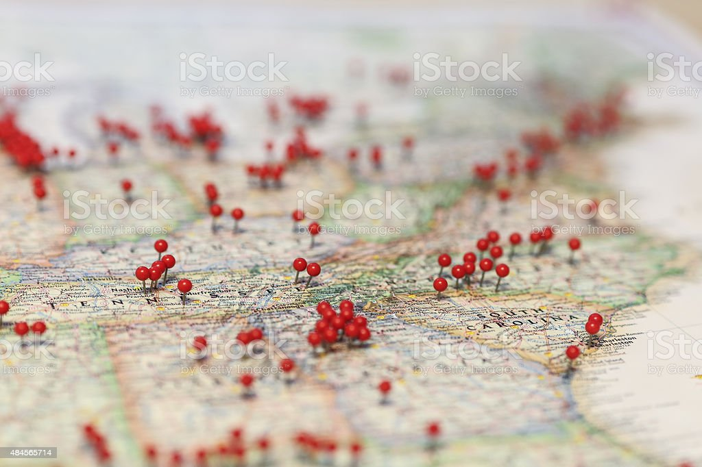 Red pins denote retail locations in South Carolina stock photo