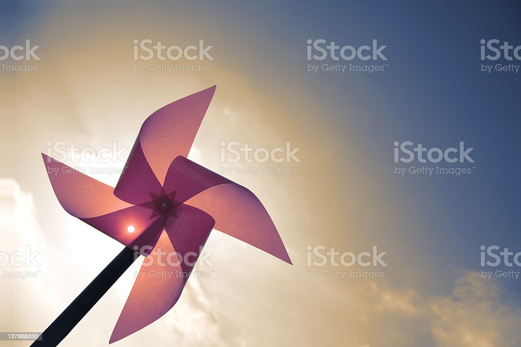 Red Pinwheel and Sky stock photo