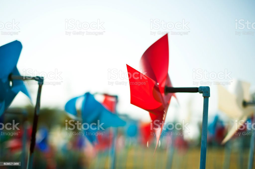 Red pinwheel stock photo