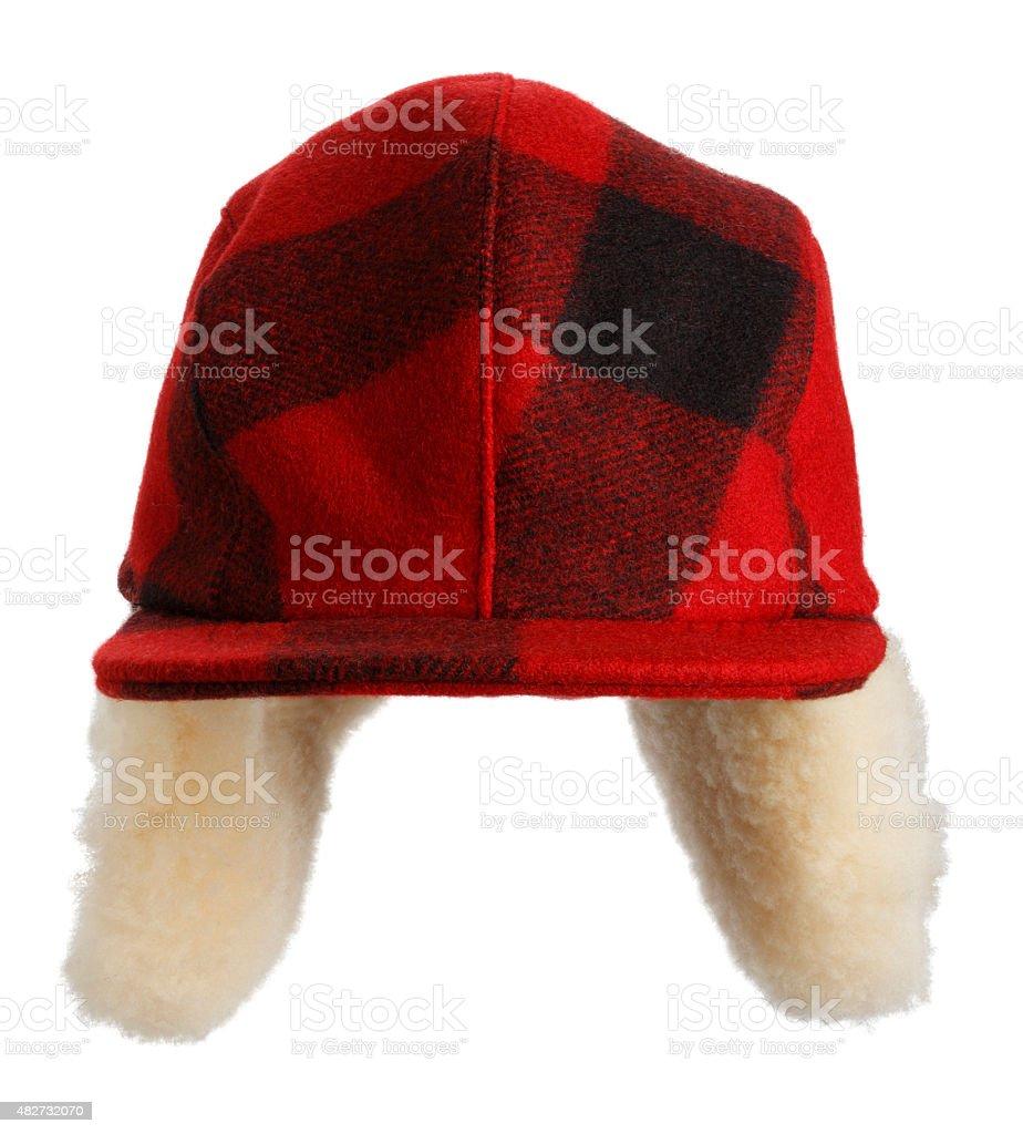 Red Plaid Hunter's cap stock photo