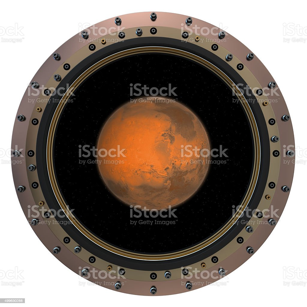 Red Planet In The Spacecraft Porthole stock photo