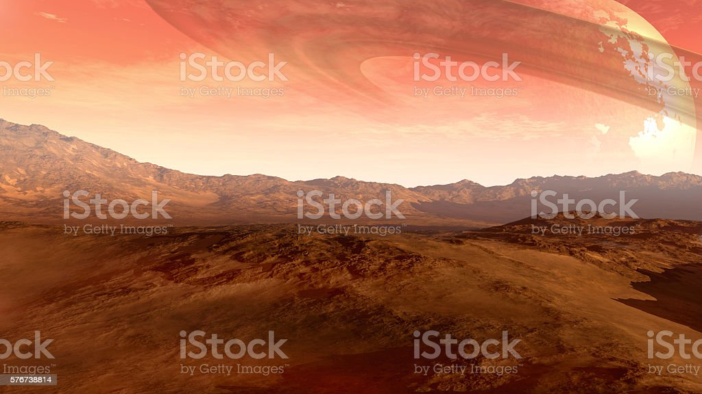 Red planet with a ringed moon stock photo