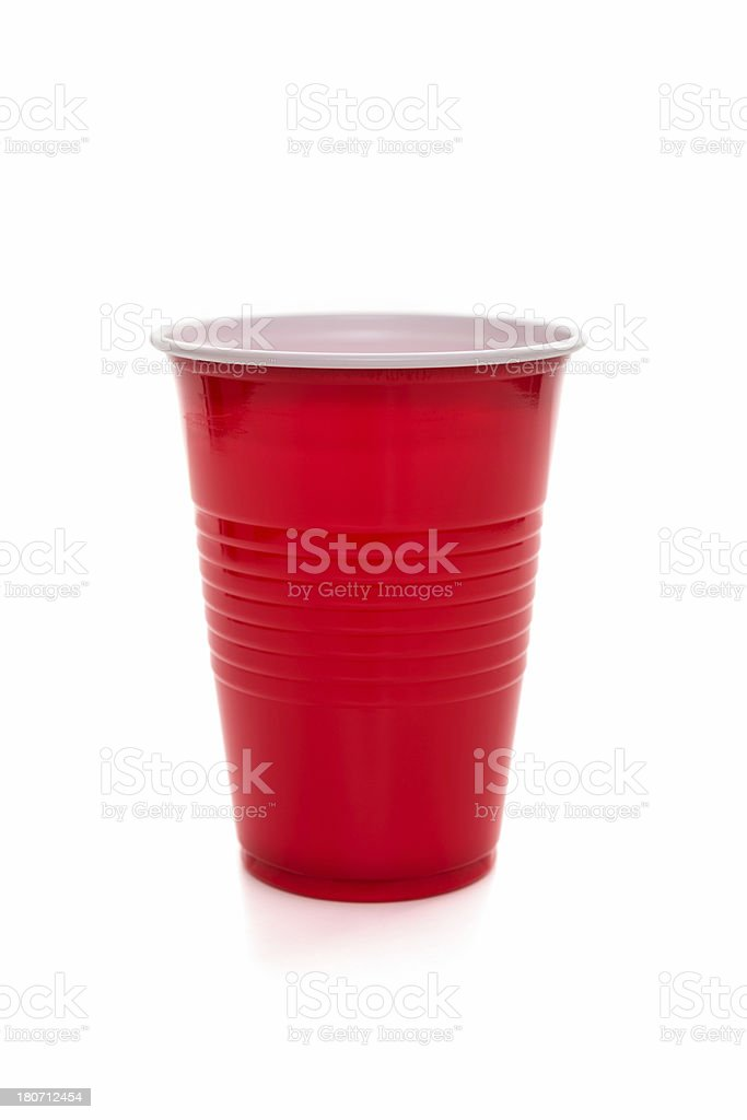 Red plastic coffee/tea cup stock photo