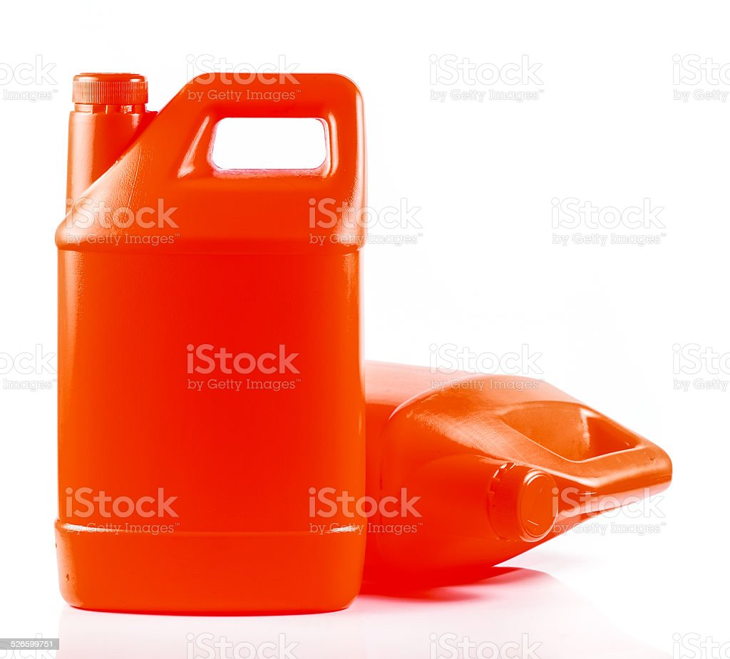 Red plastic container stock photo