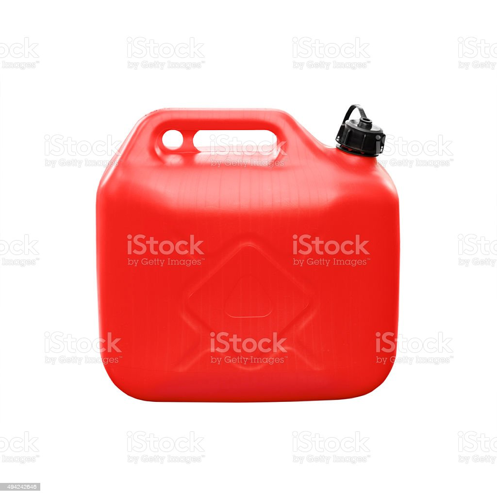 Red plastic jerrycan isolated on white stock photo