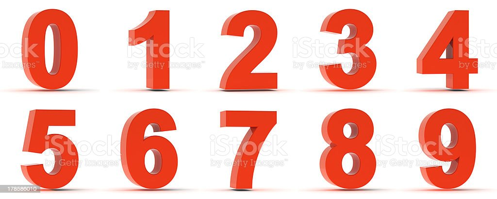 Red Plastic Numbers stock photo