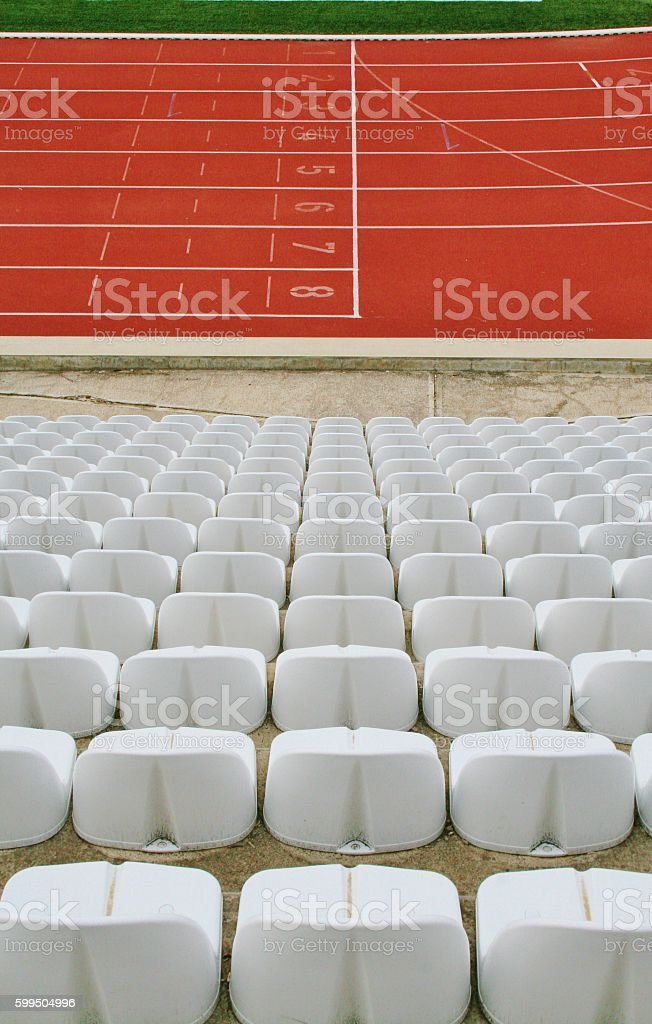 Red plastic runway and auditorium stock photo