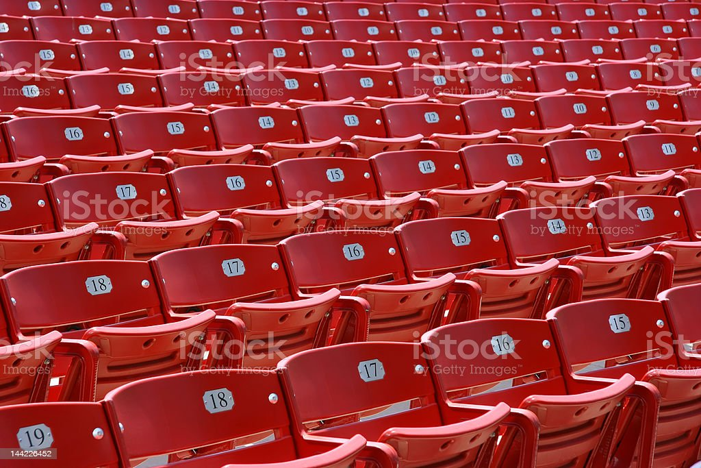 Red plastic seats, front royalty-free stock photo