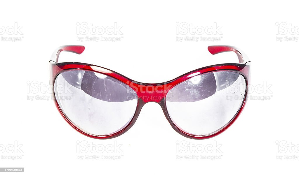 red plastic sunglasses isolated royalty-free stock photo