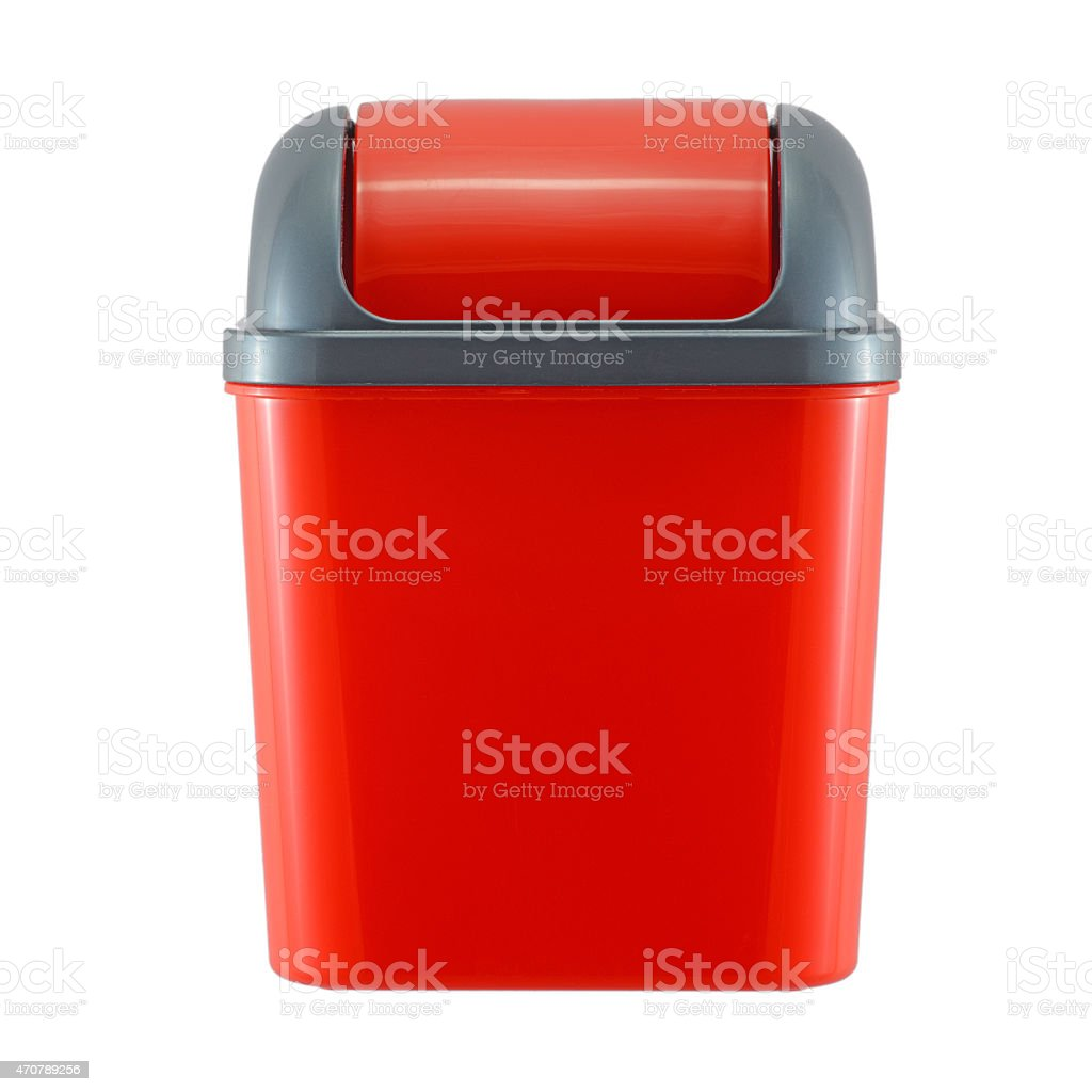 red plastic trash can on white background stock photo