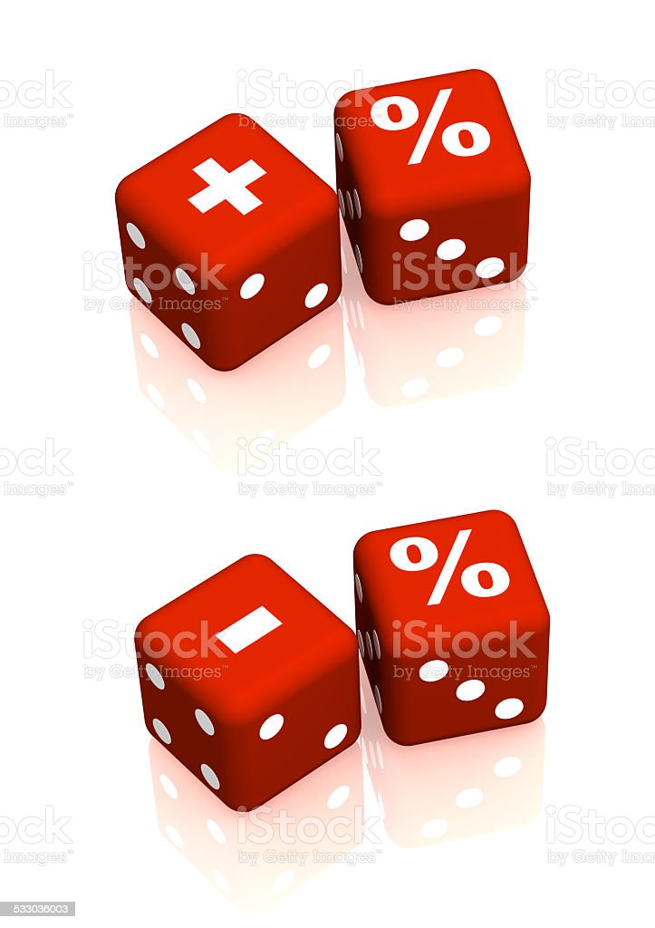 Red playing boxes with symbols plus, minus and percent stock photo