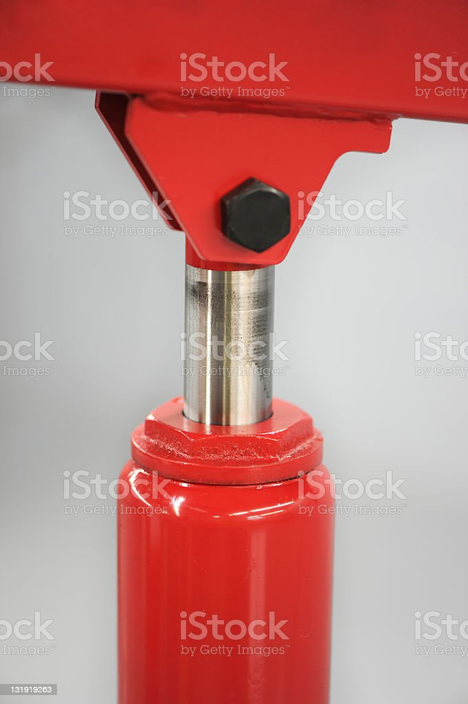Red Pneumatic Cylinder stock photo
