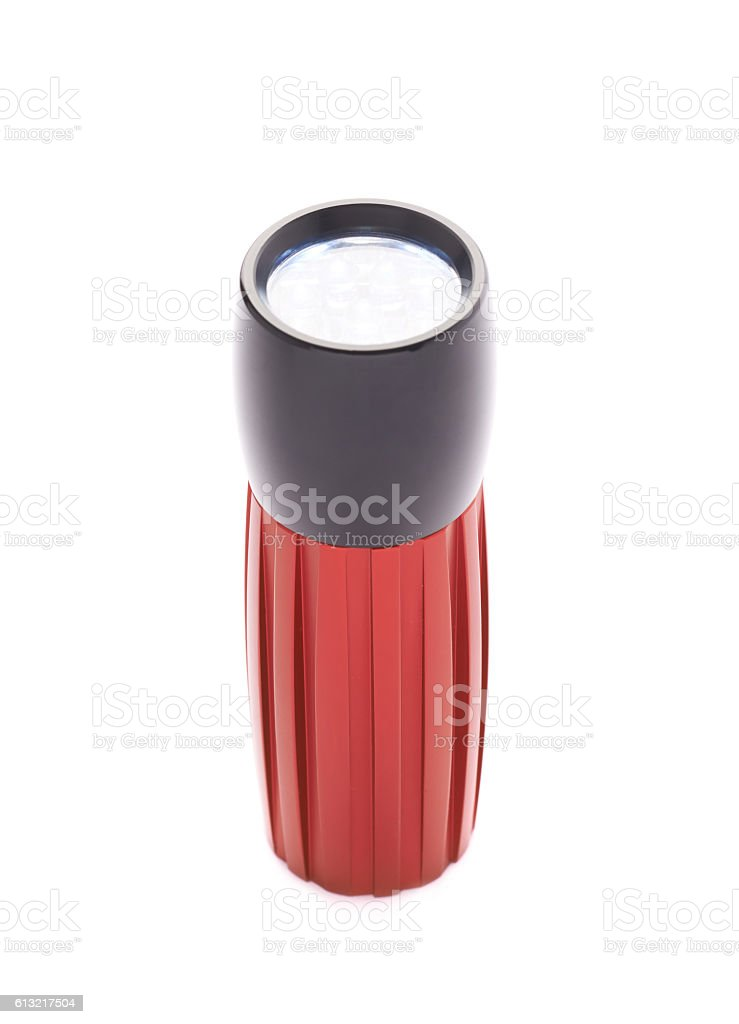 Red pocket flashlight isolated stock photo