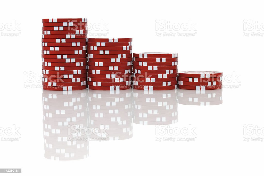 Red Poker Chips (isolated) stock photo