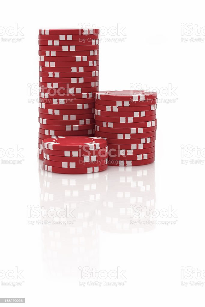 Red Poker Chips stock photo