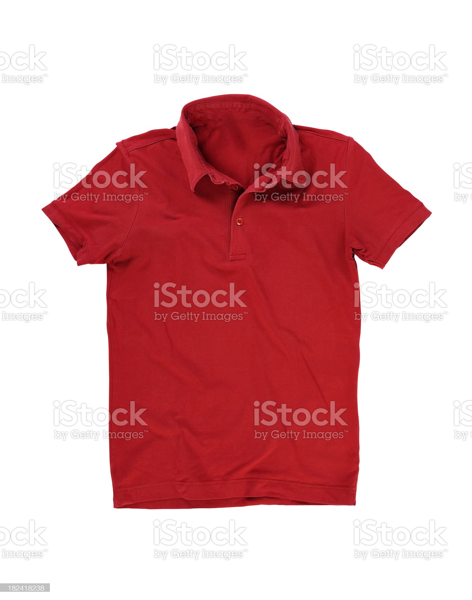 Red polo shirt isolated on white royalty-free stock photo