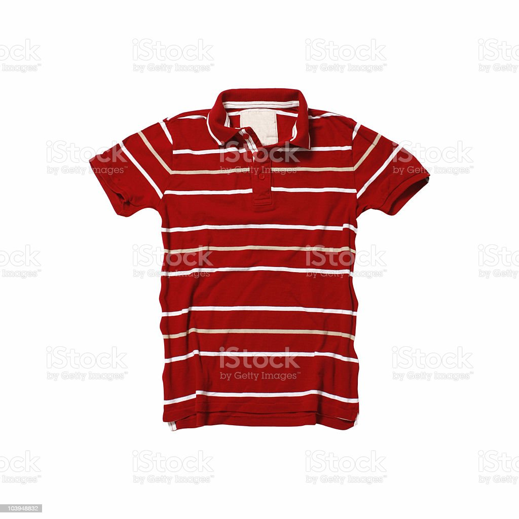 Red Polo Shirt With Stripes - White Background royalty-free stock photo