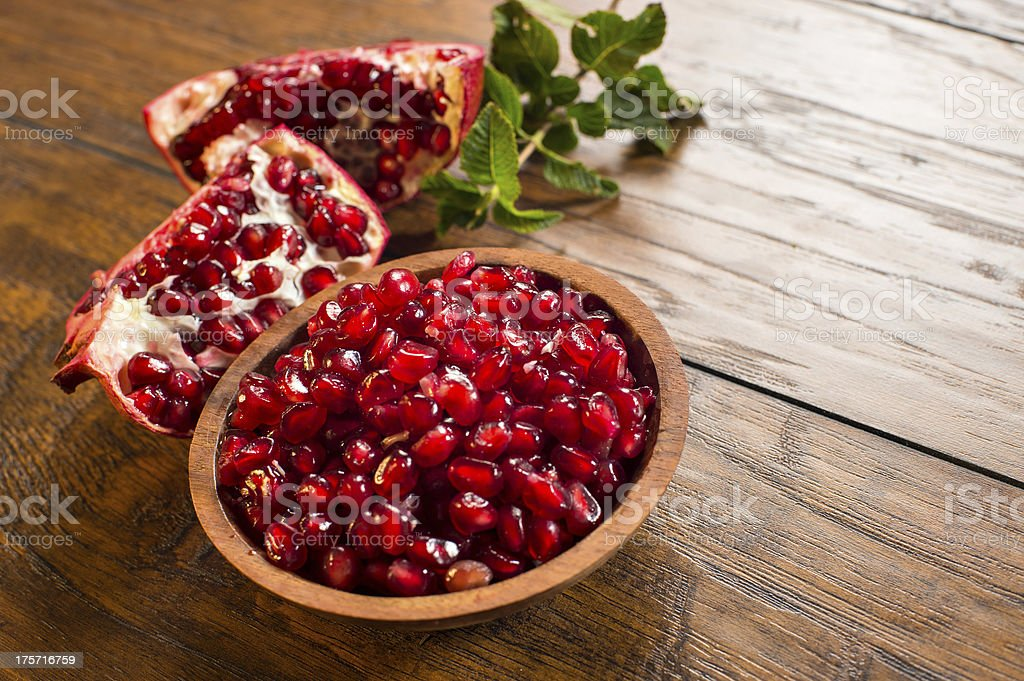 Red pomegranate seeds stock photo