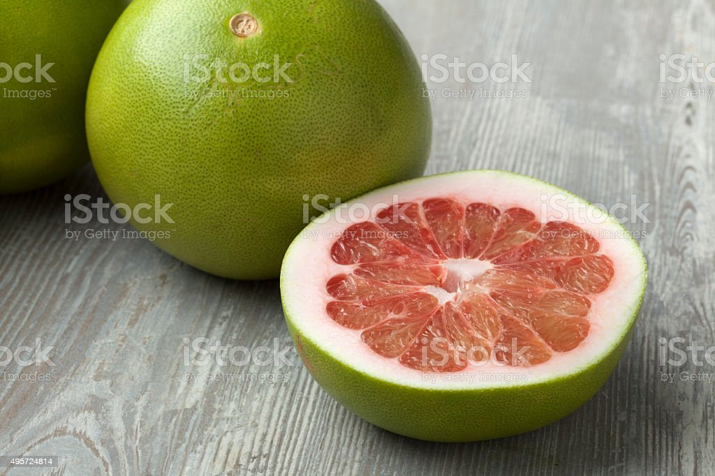 Red pomelo fruit stock photo