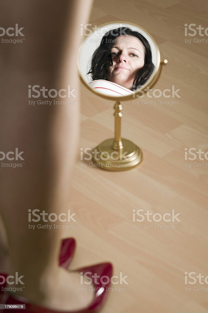 red pomps and mirror royalty-free stock photo